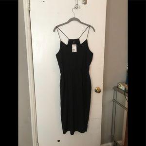 NWT H &M silky black mid length dress